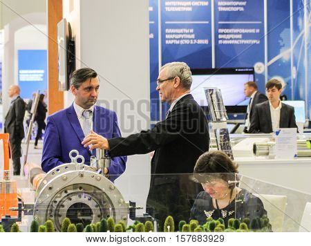 St. Petersburg, Russia - 5 October, Meeting people on the forum, 5 October, 2016. Petersburg Gas Forum which takes place in Expoforum.