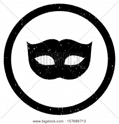 Privacy Mask rubber seal stamp watermark. Icon vector symbol with grunge design and dirty texture. Scratched black ink sign on a white background.