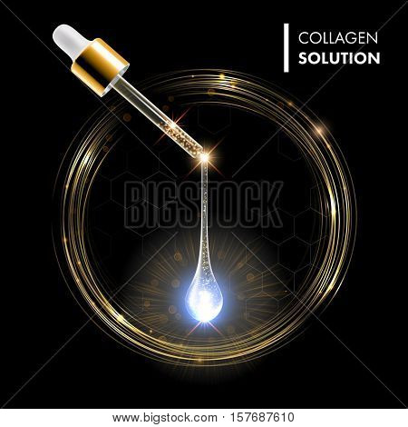Gold serum premium drop. Collagen serum with dropper on gold circles shine background. Ad skincare cosmetic concept.
