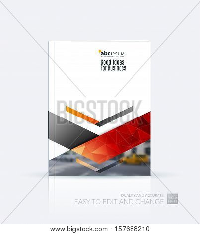 Business vector. Brochure template layout, cover design annual report, flyer in A4 with red triangles, arrows for business, finance, buildings, nature concept. Abstract creative design.
