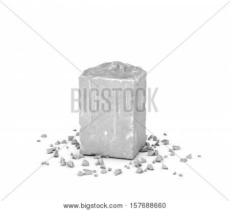 3d rendering big rectangular block of gray rock and its chips isolated on white background. Mineral extraction. Traditional mining and equipment. Stone carving.