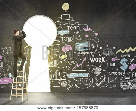 Back view of young man on ladder looking out of keyhole opening in concrete wall with creative business sketch. Researh and success concept