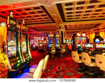 Las Vegas, United States of America - May 06, 2016: Slot machines at the Wynn Hotel and casino at Las Vegas, United States of America at May 06, 2016
