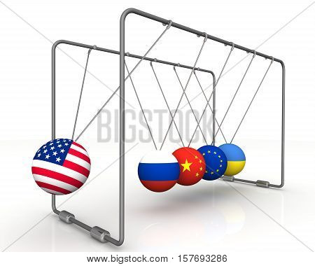 The law of retroactivity of sanctions in geopolitics. Ball with flag of the USA brings balls from a state of equilibrium with the flags of other countries. 3D Illustration