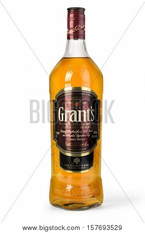 Chisinau Moldova November 10 2016: Grants blended cask editions whiskey isolated on white background. Grants has been produced by William Grant and sons in Scotland since 1887