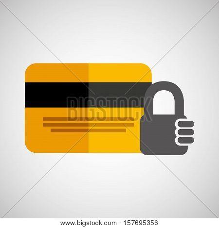 credit card banking money security padlock vector illustration eps 10