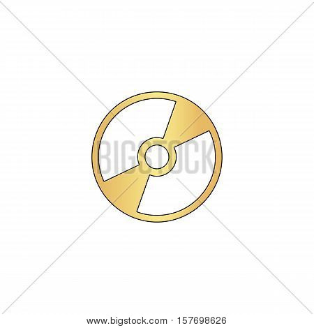 CD DVD Gold vector icon with black contour line. Flat computer symbol