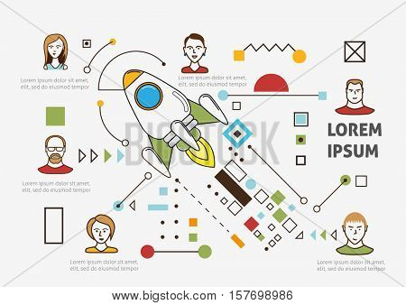Thin line art style design for business start up. Creative illustration of business start up concept