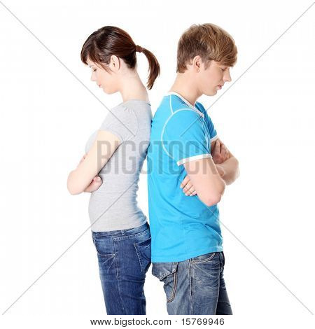 Pensive couple having an argument isolated over white background