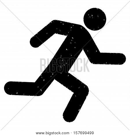 Running Man grainy textured black icon for overlay watermark stamps. Flat symbol with unclean texture. Dotted vector ink rubber seal stamp with grunge design on a white background.