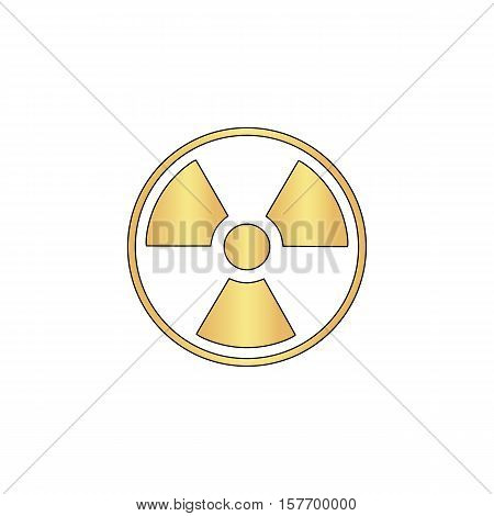 Radiation Gold vector icon with black contour line. Flat computer symbol