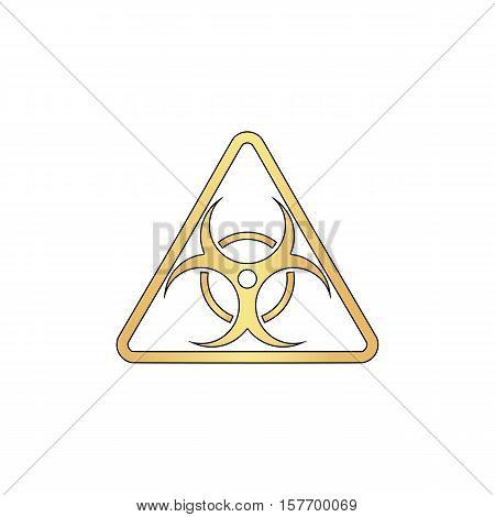 Biohazard Gold vector icon with black contour line. Flat computer symbol