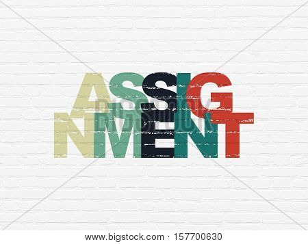 Law concept: Painted multicolor text Assignment on White Brick wall background