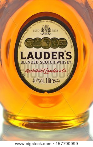 CIRCA NOVEMBER 2016 - GDANSK: Lauders blended scotch whisky isolated on white background. It is distilled blended and bottled in Scotland by Archibald Lauder and co in Glasgow that was established in 1834.