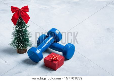 Christmas Sport Composition With Dumbbells, Red Gift Box, Christmas Tree