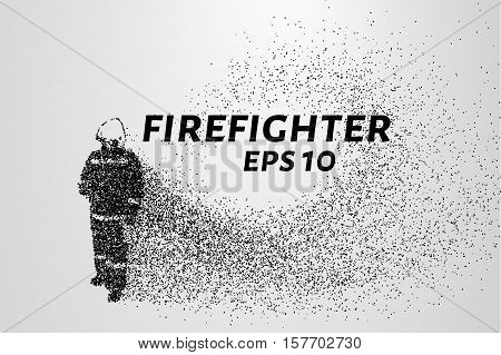 Firefighter of the particles. The fireman consists of dots and circles. Vector illustration.