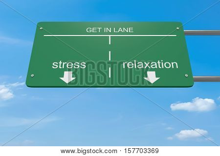 Get In Lane Business Concept: Stress Or Relaxation 3d illustration
