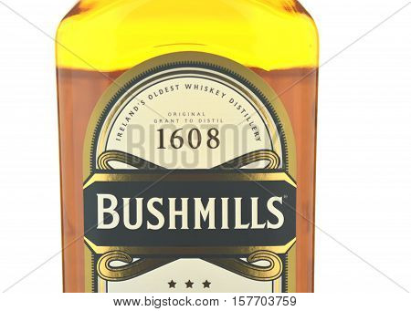 CIRCA NOVEMBER 2016 - GDANSK: Bushmills irish whiskey isolated on white background. The Old Bushmills Distillery is a distillery in Bushmills, County Antrim, Northern Ireland. It was founded in 1784.