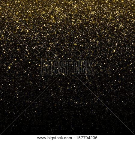 Gold glitter confetti background. Falling golden glittering snow or rain light effect for Christmas and New Year backdrop, greeting card. Sparkling golden stars and snowflakes