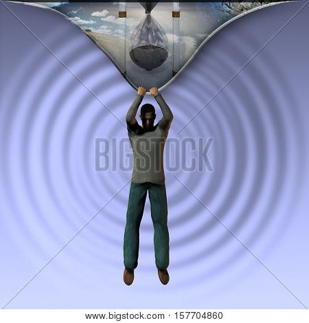 Man pulls back reality 3d Render