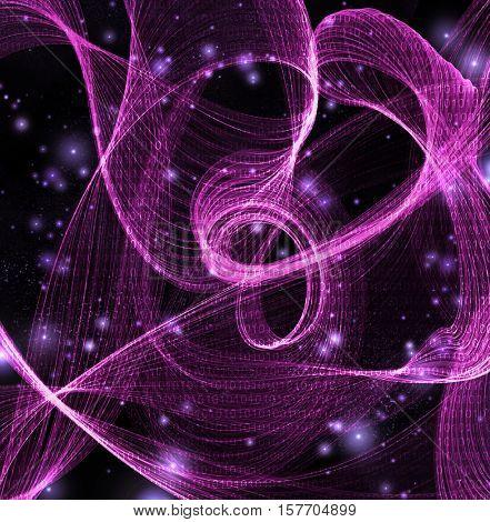 Streams of swirling binary code 3d Render