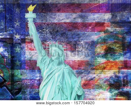 America NYC with Statue of Liberty 3d Render