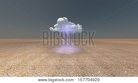 Dry Cracked earth with single cloud 3d Render