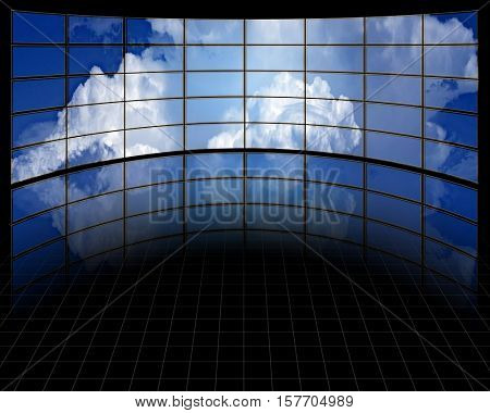 Large Screens with Clouds 3d Render