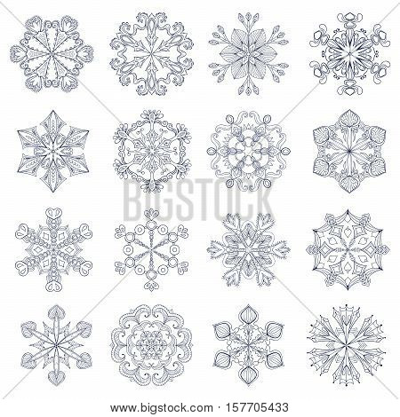 Vector vintage snowflake set in zentangle style. 16 original snow flakes for Christmas, New Year decoration. Hand drawn isolated doodle objects. Eps10.