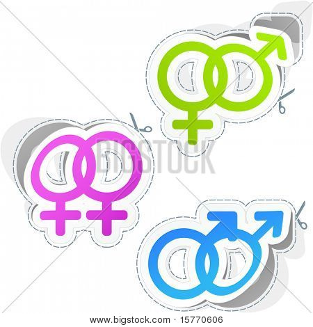 Male and female sticker set.