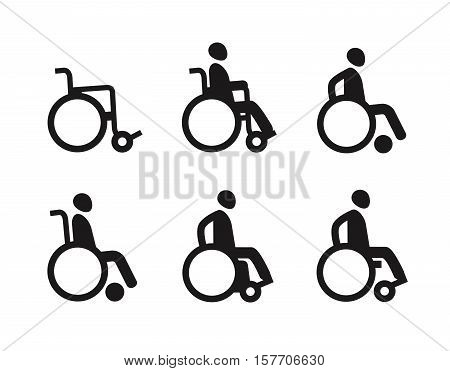 Wheelchair or invalid disabled. Icon set. Vector symbol isolated on white background