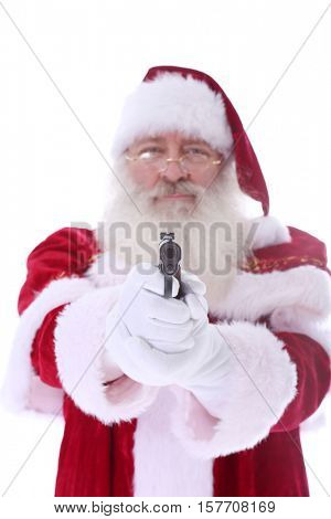 Santa Claus with a Pistol. Pointing at the viewer.