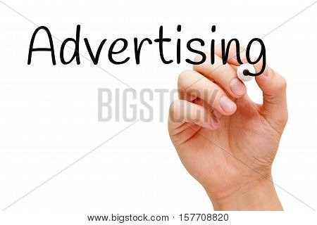 Hand writing Advertising with black marker on transparent wipe board.