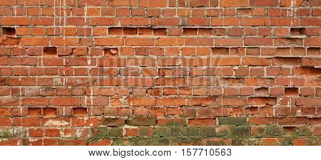Wide Red Brown Vintage Distressed Brick Wall Surface Background Texture