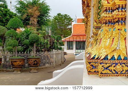 Decoration in Buddhist temple Wat Chana Songkhram. It is located near popular street Khaosan road and district for tourists.