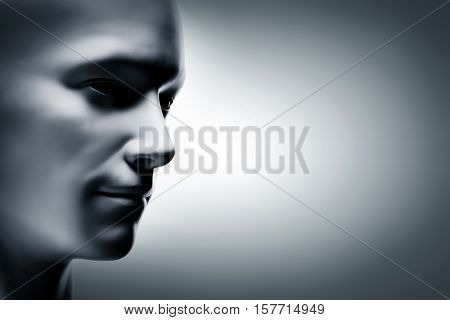 Generic human man face, profile side. Futuristic mood, concepts of virtual reality etc. 3D rendering