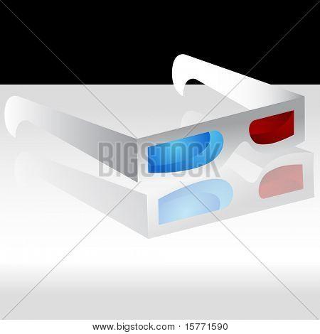 ein Bild von einer 3D-Brille auf einem grauen Hintergrund mit Reflektion.