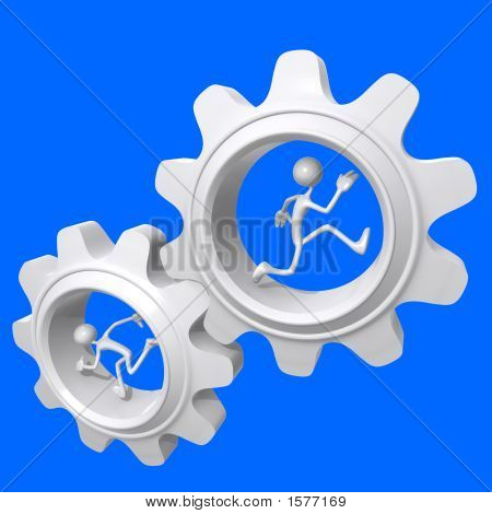 Teamwork Turning Gears