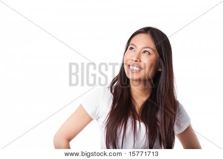 An isolated shot of a beautiful happy asian woman looking up