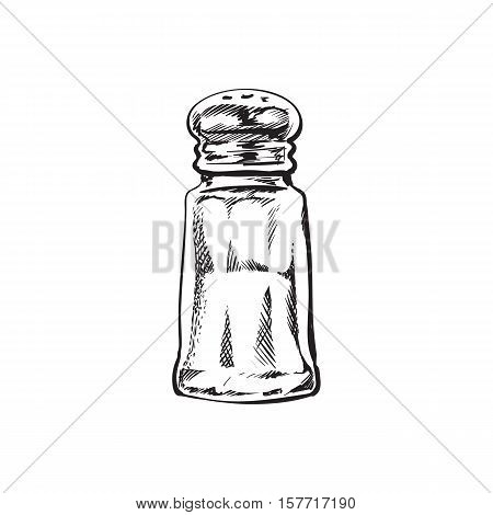 Hand drawn salt mill, shaker, grinder, sketch style vector illustration isolated on white background. Drawing black and white of salt grinder, shaker or mill, side view, colorful illustration