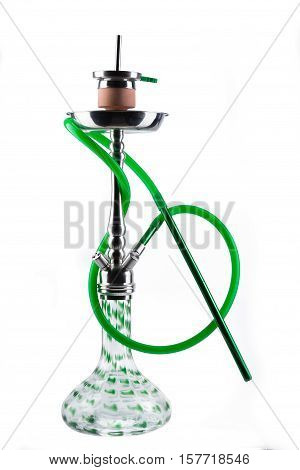 Modern green hookah isolated on white background. Eastern smokable water pipe smoking on white background. greenhookah with black rubber tube and green flask isolated on white background.