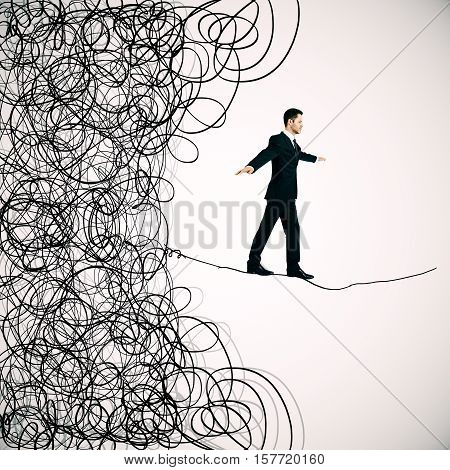 Man walking on abstract scribbled line. Maze and business challenge concept