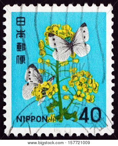 JAPAN - CIRCA 1980 a stamp printed in Japan shows Rape Flower Cabbage Butterflies circa 1980