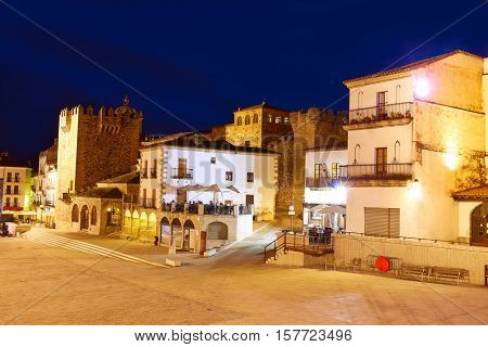 Caceres Plaza Mayor square at sunset in Extramadura of Spain