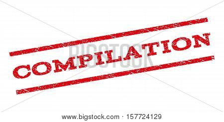 Compilation watermark stamp. Text tag between parallel lines with grunge design style. Rubber seal stamp with unclean texture. Vector red color ink imprint on a white background.