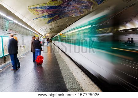 Paris France - October 16 2016: metro station with unidentified people in Paris. The Paris Metro is one of the busiest metro systems in Europe