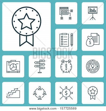 Set Of Project Management Icons On Present Badge, Money And Growth Topics. Editable Vector Illustrat