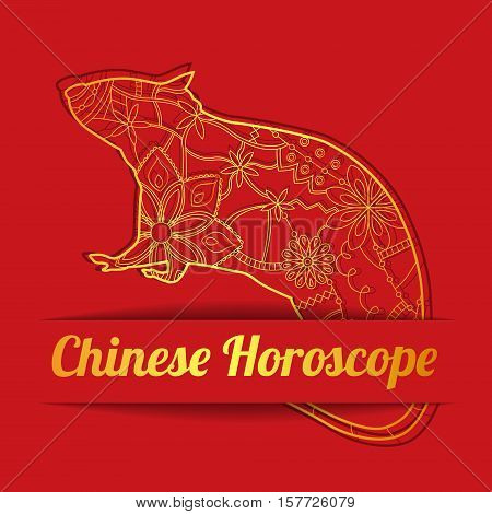 Vector chinese horoscope background with golden rat
