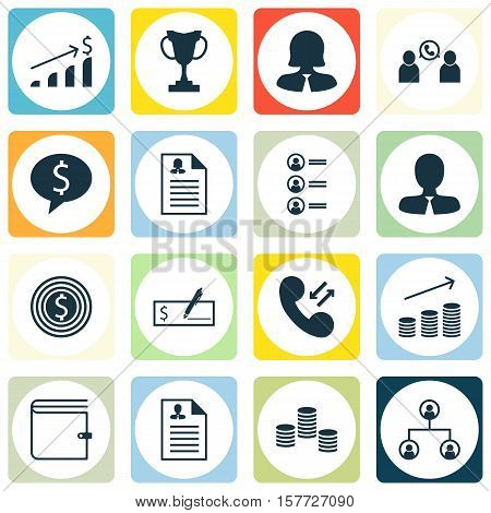 Set Of Hr Icons On Money, Business Goal And Female Application Topics. Editable Vector Illustration.