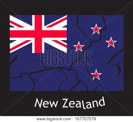 Concept earthquake in New Zealand. Cracks on the flag